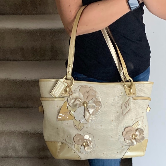 Coach Handbags - Limited Edition Coach Straw Tote with Gold Flowers d6f823676ab53